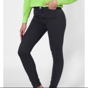 American Apparel High Waisted Almost Black Skinny
